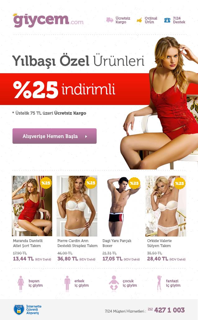 Yılbaşı Yaklaşıyor, Giycem yılbaşı özel ürünleri ile sizlerle. Bu Haftaya Özel Yılbaşı Özel Ürünleri %25 İNDİRİMLİ Fırsatı Kaçırmayın!  http://www.giycem.com/icgiyim/ic-giyim-ozel-gunler/yilbasi-ozel-ic-giyim?dir=asc&order=price